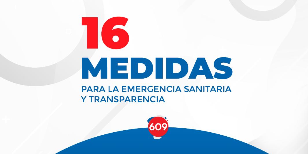 16 medidas para la emergencia sanitaria y transparencia